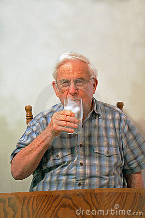 Grandpa drinks ice water