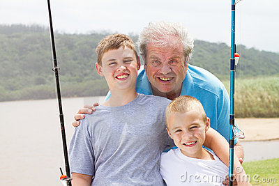 Grandpa grandsons fishing