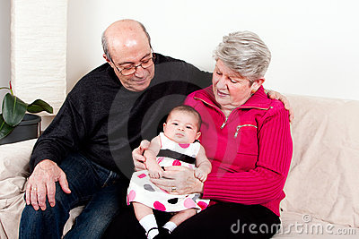 Grandparents with baby girl