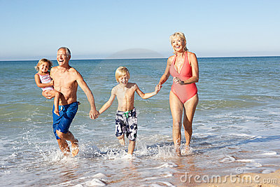 Grandparents With Grandchildren On Holiday