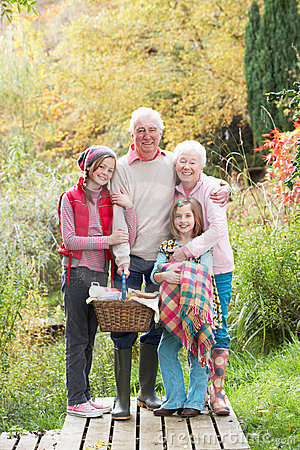 Grandparents and Grandchildren with Picnic Basket