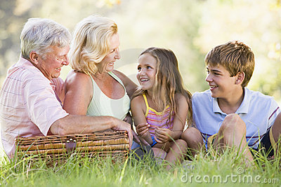 Grandparents having a picnic with grandchildren