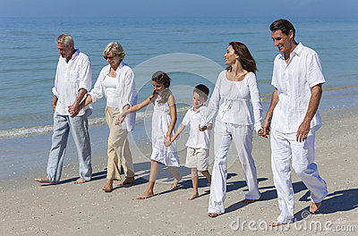 Grandparents, Mother, Father Children Family Walking Beach