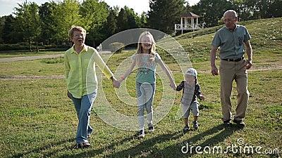 Grandparents walking with grandchildren in park stock footage