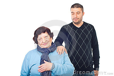 Grandson consoles her grandma