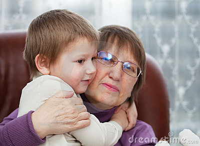 Grandson with grandmother