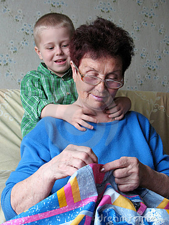 Grandson and grandmother at home