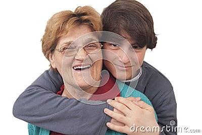 Grandson hugging grandmother