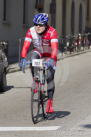 FLORENCE, ITALY - MARCH 2: Competitor during the Granfondo Firenze DeRosa race Editorial Stock Photo