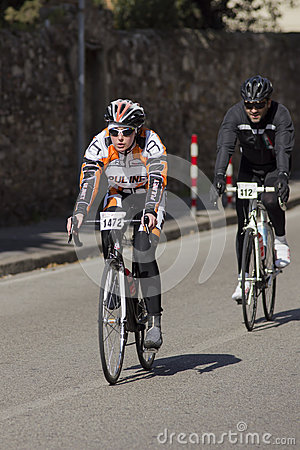 FLORENCE, ITALY - MARCH 2: Competitor during the Granfondo Firenze DeRosa race Editorial Photo