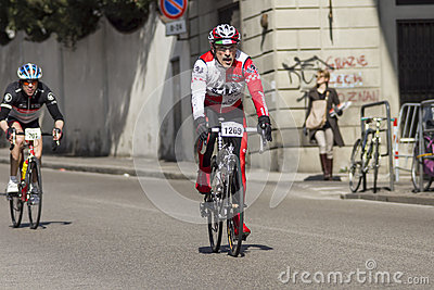 FLORENCE, ITALY - MARCH 2: Competitor during the Granfondo Firenze DeRosa race Editorial Photography