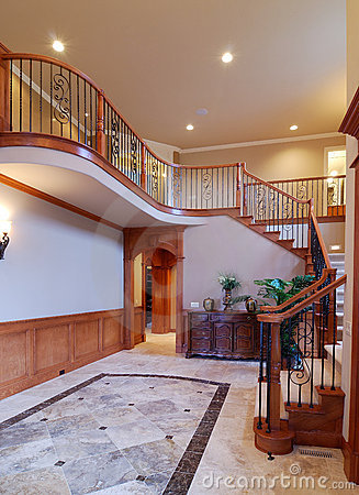 Luxury staircase and granite floor in a luxury house