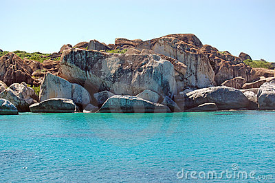 Granite rock face and turquoise waters