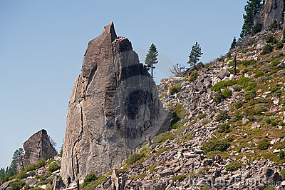 Granite rocks on mountainside