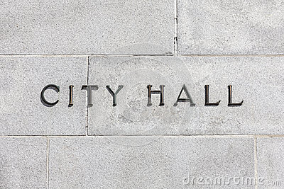 Granite Wall CIty Hall Sign