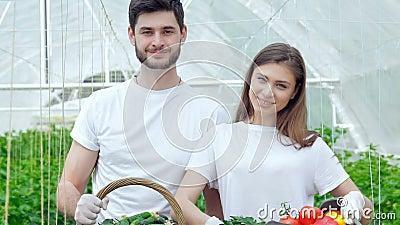 Granjeros del hombre y de la mujer después de sonreír de la cosecha almacen de video