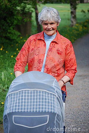 Granny with baby buggy