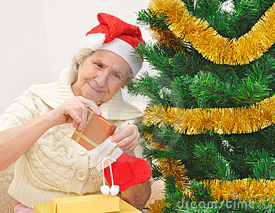 Granny with Christmas stocking