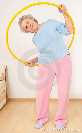 Granny doing gymnastic with hula-hoop
