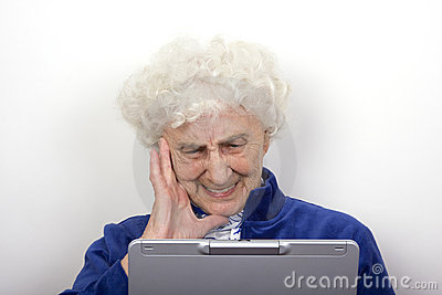 Granny Frowns at her Laptop
