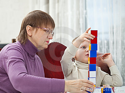 Granny playing with grandson