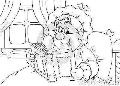 Granny reads a book