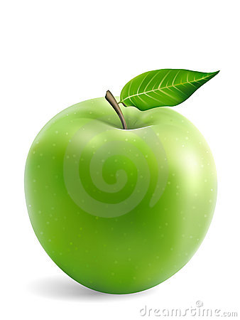 Granny Smith Apple With a Leaf