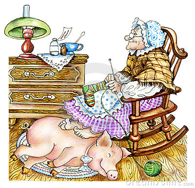 Free Granny With A Pig Royalty Free Stock Photos - 22670578