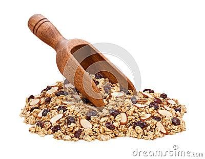 Granola, amêndoas, e Raisins