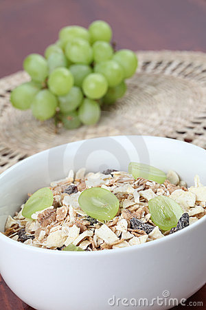 Granola with fresh grapes