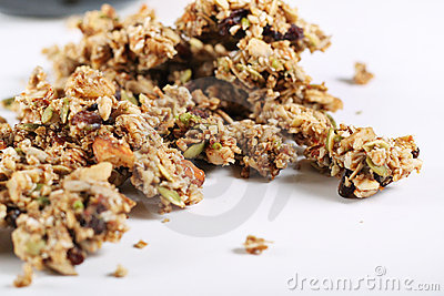 Granola on white background