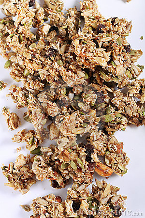 Granola on white background vertical