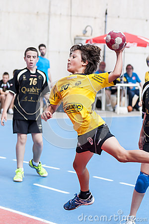 Granollers CUP 2013. Player shooting the ball. Editorial Stock Photo