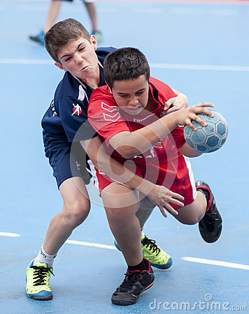 Granollers CUP 2013. Players fighting the ball Editorial Stock Photo