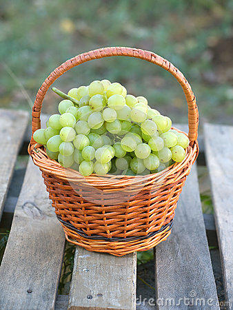 Grape in brown wicker basket on wooden table closeup Stock Photo