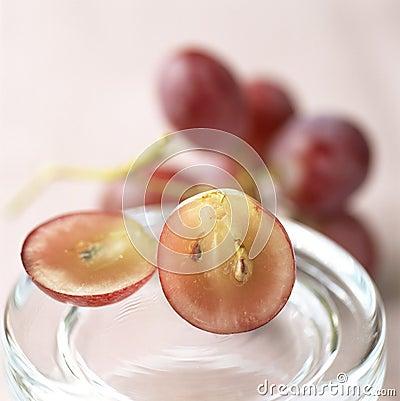 Grape cut in half