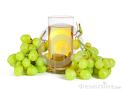 Grape And Glass Of Juice On White Stock Photo - Image ...