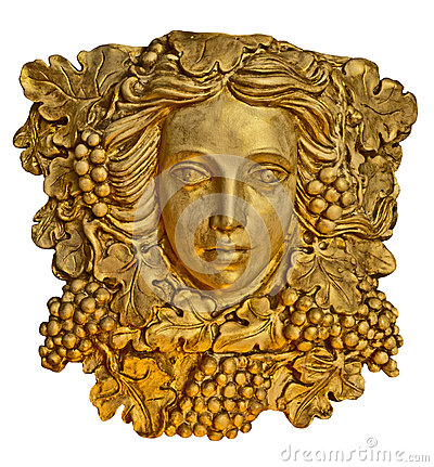 Free Grape Hair Greek Woman Sconce Statue With Golden Texture Royalty Free Stock Images - 34832229