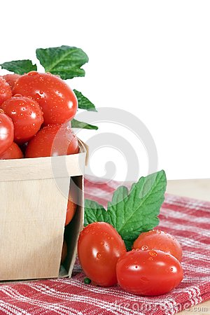 Grape Tomatoes in Wood Basket