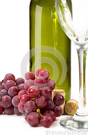 Grape wine bottle and glass