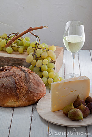 Grape, wine, bread, cheese and fig