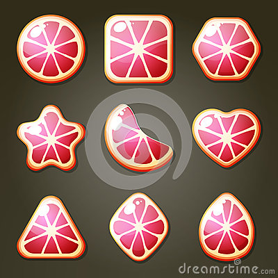 Free Grapefruit Candies For Match Three Game Stock Image - 57706721