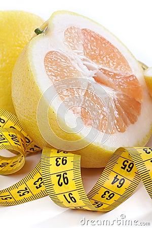 Grapefruit with centimetre.