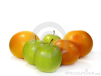 Grapefruit and green apples isolated