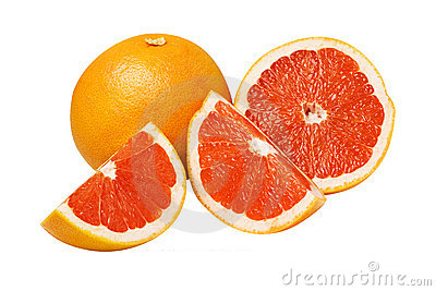 Grapefruit with half