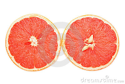 Grapefruit halves cutout