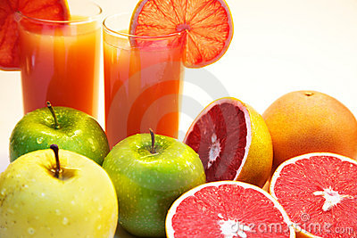 Grapefruit juice and fruits