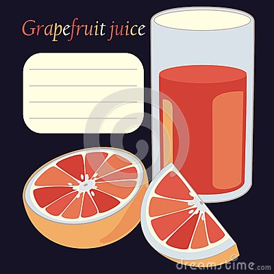 grapefruit and juice in glass