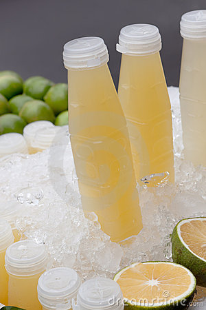 Grapefruit juice with ice cubes
