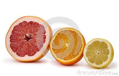 Grapefruit, orange and lemon